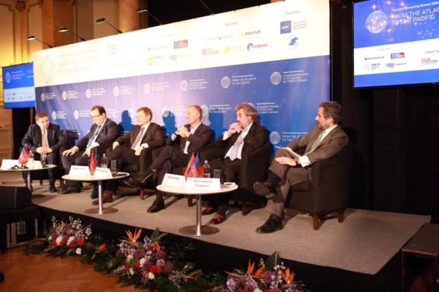 Participants of a panel discussion on business in Eurasia (from the right): Pierroberto Folgiero(CEO Maire Tecnimont), Fares Kilzie (Chairman Creon Capital), Mark A. Gyetvay (Deputy Chairman of the Novatek Management Board), Sergey Ivanov (CEO Alrosa), Koen Berden(Executive Director for International Affairs, European Federation of Pharmaceutical Industries and Associations), moderator Philippe Pégorier(President Alstom Russia, Member of the Board, Association of European Businesses).